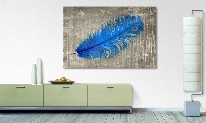 Das Leinwandbild Feather In Blue