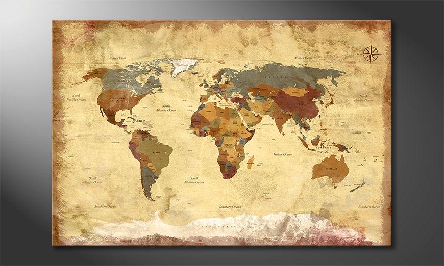 Das Leinwandbild Old Worldmap 4