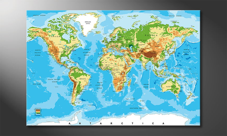 Das Leinwandbild Physical Worldmap