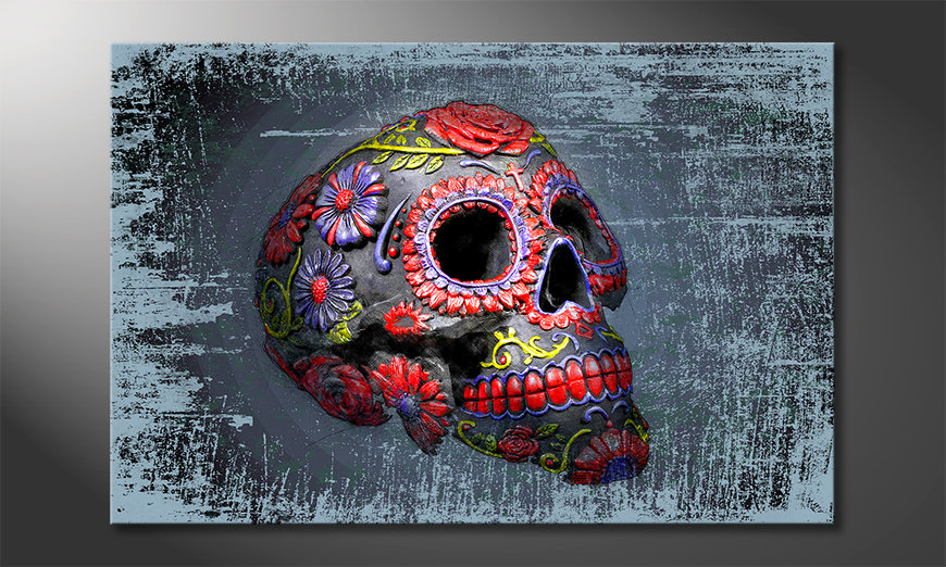 Das Leinwandbild Smiling Skull