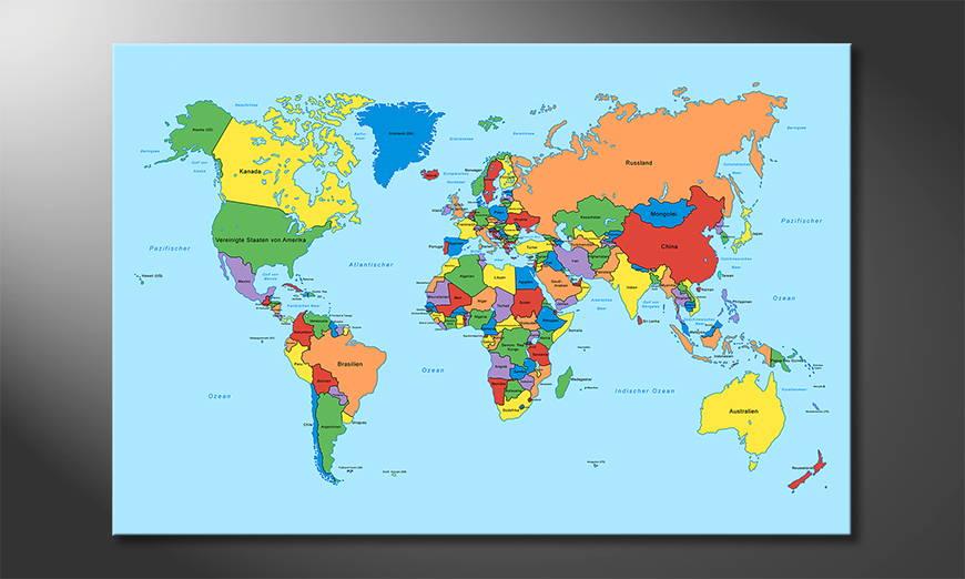 Das Leinwandbild Worldmap Classic