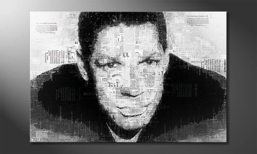 Das Wandbild Denzel im Newspaper Stil