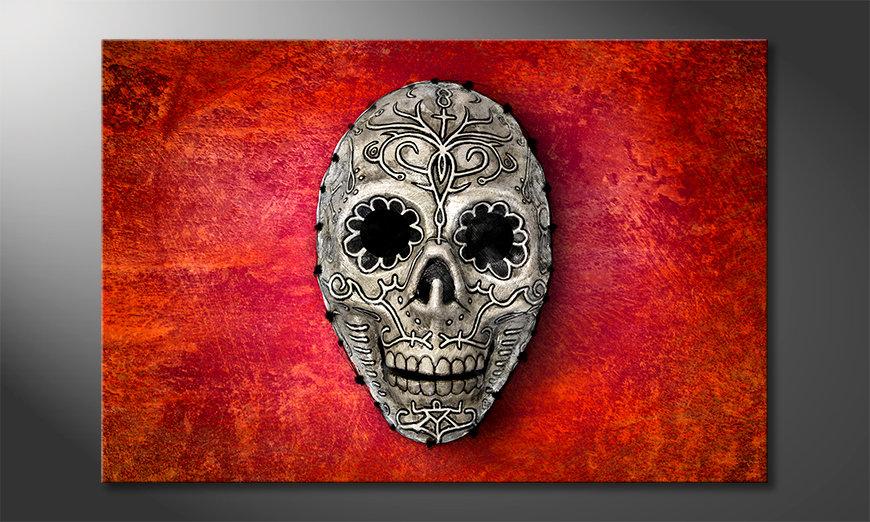 Das Wandbild Skull On Red