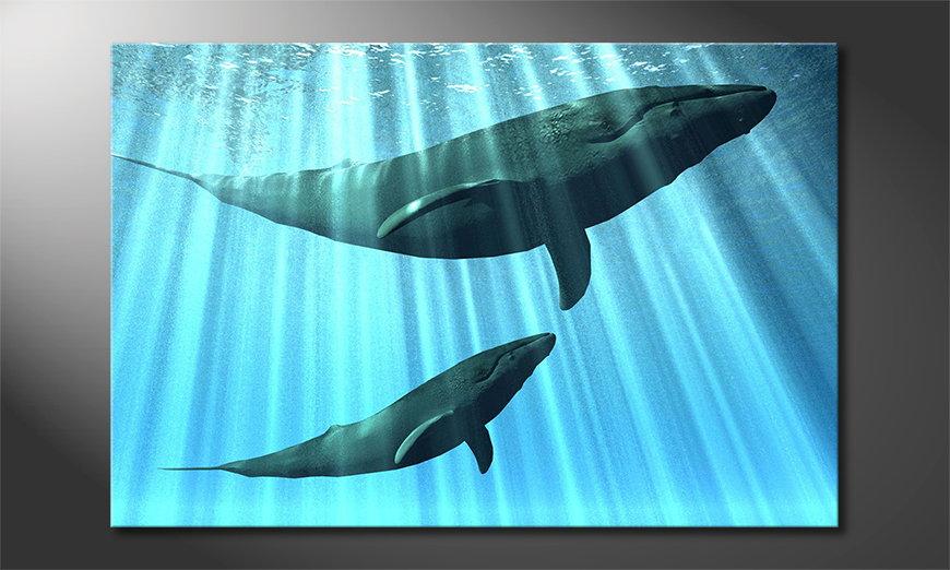Das blaue Leinwandbild Whales