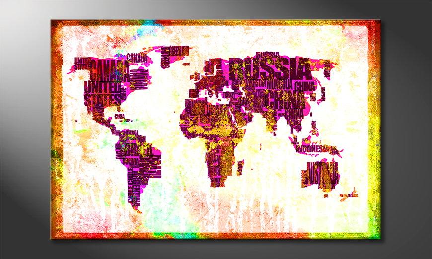 Das bunte Wandbild Weltkarte Nr3