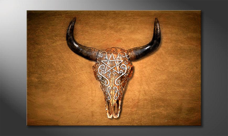 Das gedruckte Bild Bison Skull