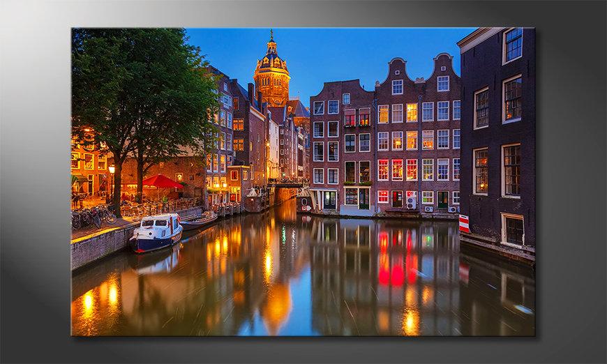 Das gedruckte Bild Canal in Amsterdam