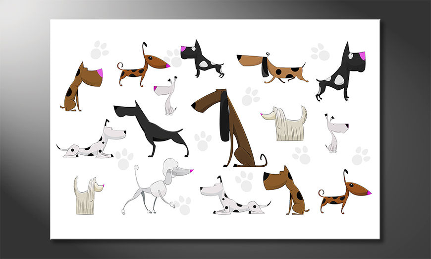 Das gedruckte Bild Cartoon Dogs