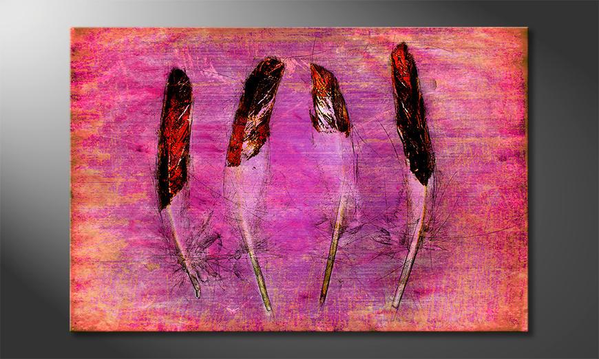 Das gedruckte Bild Feathers and Pink