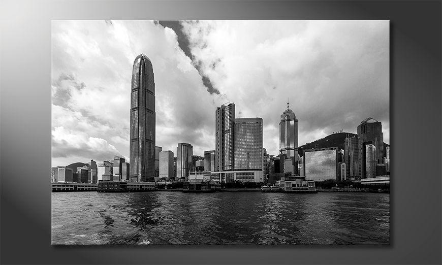 Das gedruckte Bild Hongkong Skyline