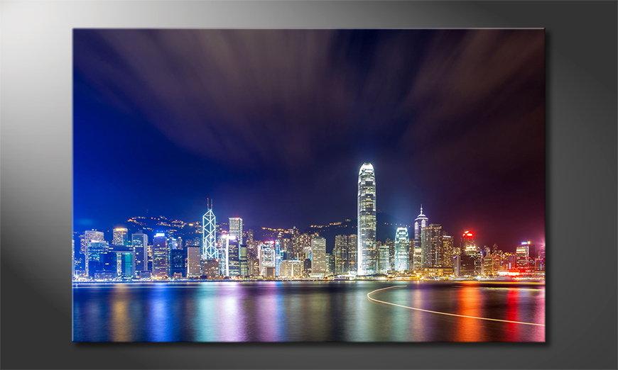 Das gedruckte Bild Hongkong at Night
