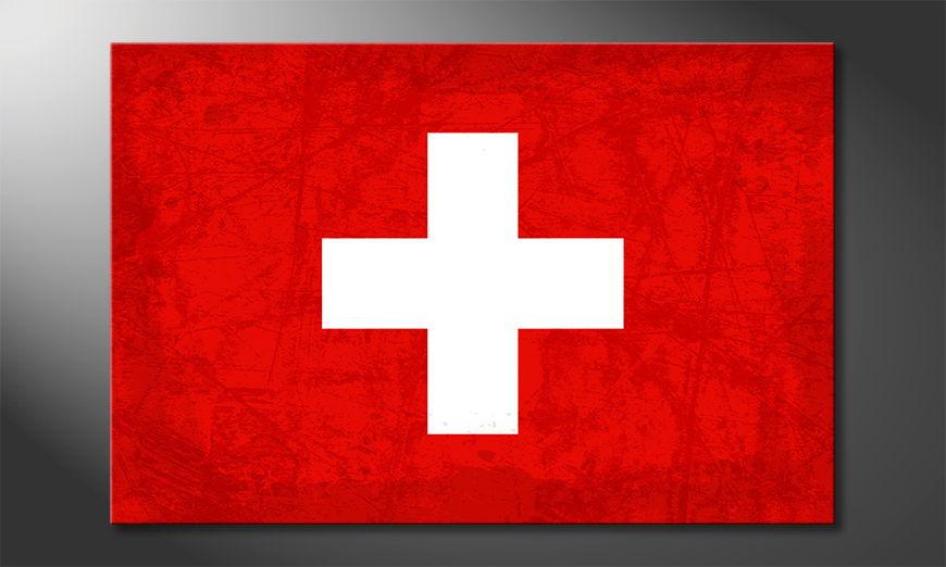 Das gedruckte Leinwandbild Schweiz