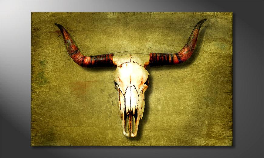 Das moderne Leinwandbild Buffalo Bull