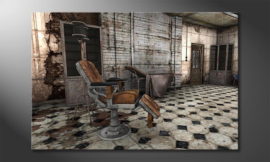 Das moderne Leinwandbild Decayed Barber