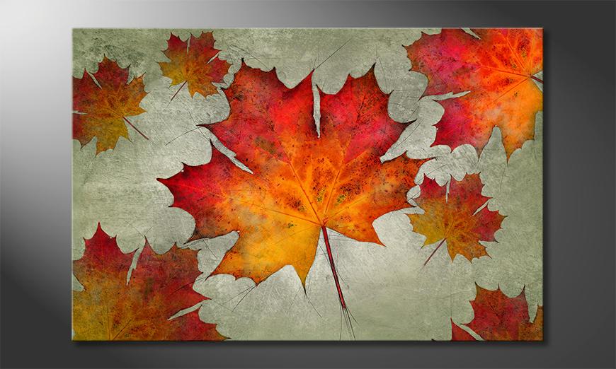 Das moderne Leinwandbild Falling Leaves