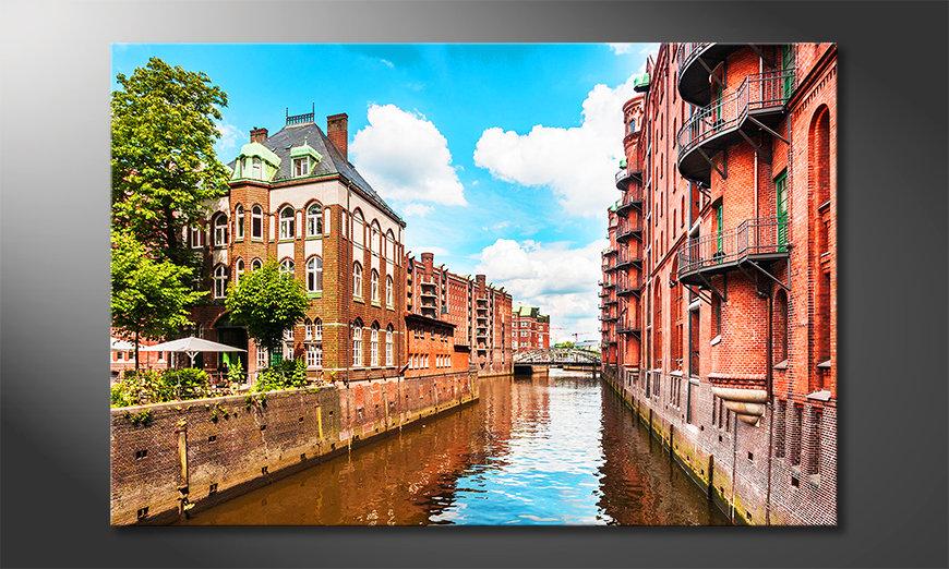 Das moderne Leinwandbild Hamburg Speicherstadt