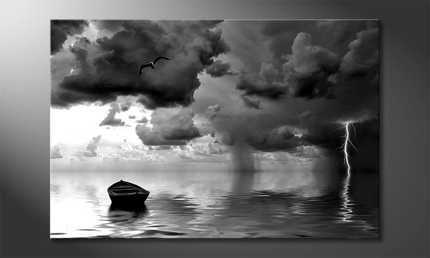 Das moderne Leinwandbild Lonely Boat