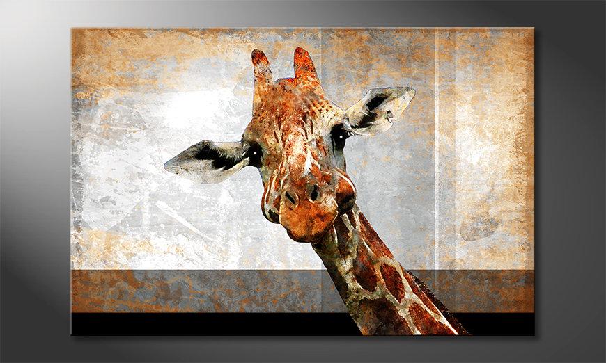 Das moderne Leinwandbild Mr. Giraffe