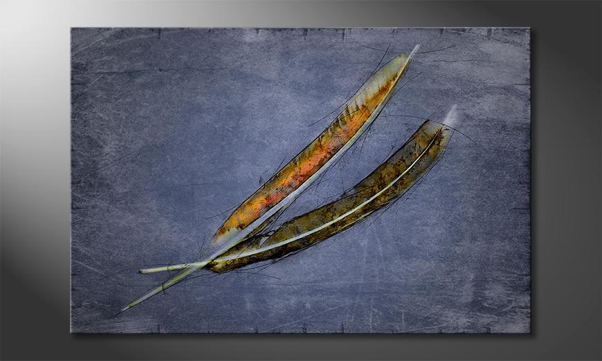 Das moderne Leinwandbild Two Feathers