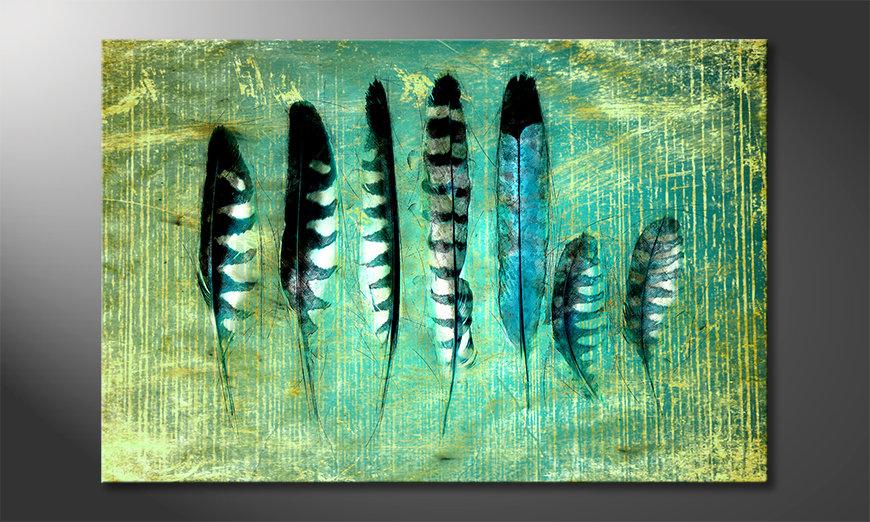 Das moderne Wandbild Blue Feathers