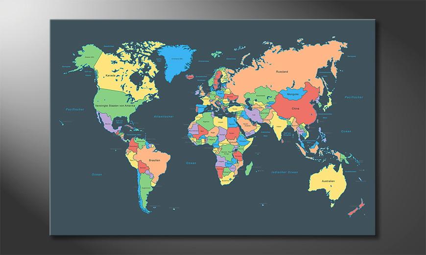 Das moderne Wandbild Colorful Map