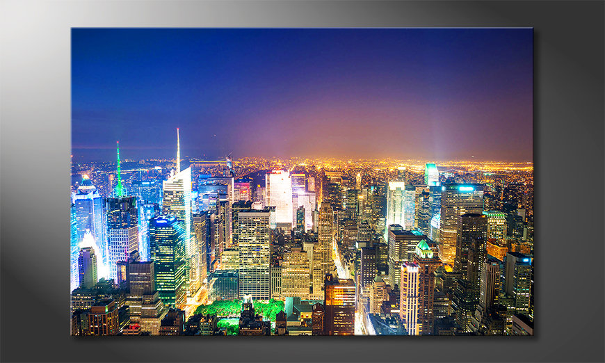new york bei nacht leinwandbild leinwandbilder in top qualit t. Black Bedroom Furniture Sets. Home Design Ideas