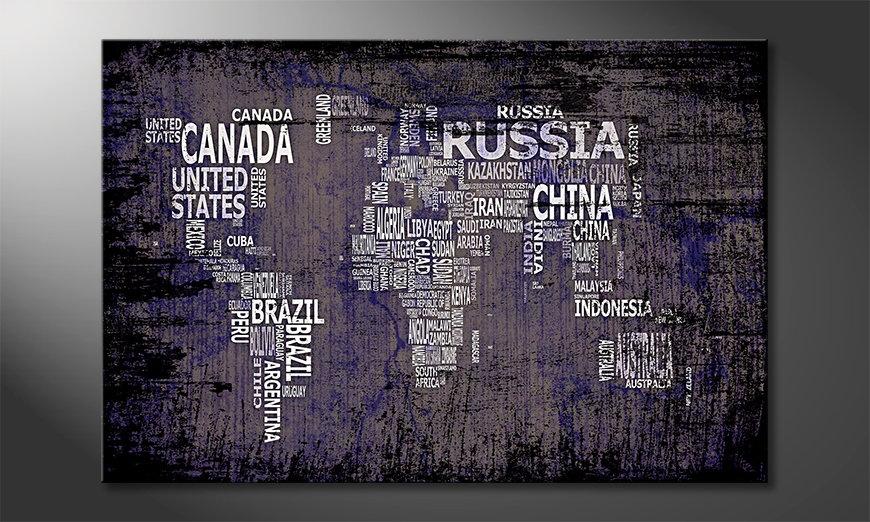 Das moderne Wandbild Weltkarte Nr9