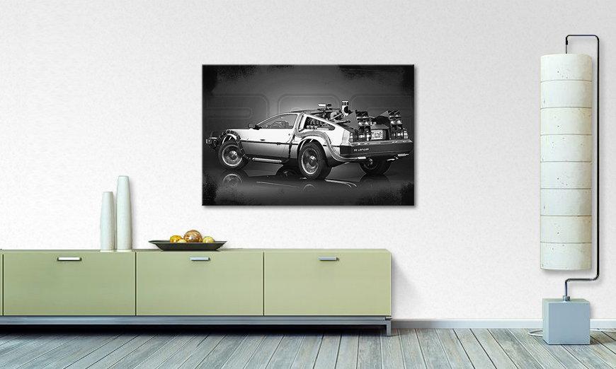 das stylische wandbild delorean wandbilder xxl. Black Bedroom Furniture Sets. Home Design Ideas