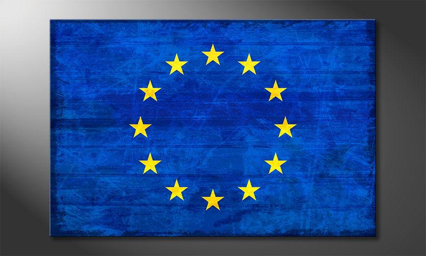 Die Flagge von Europa als Wandbild