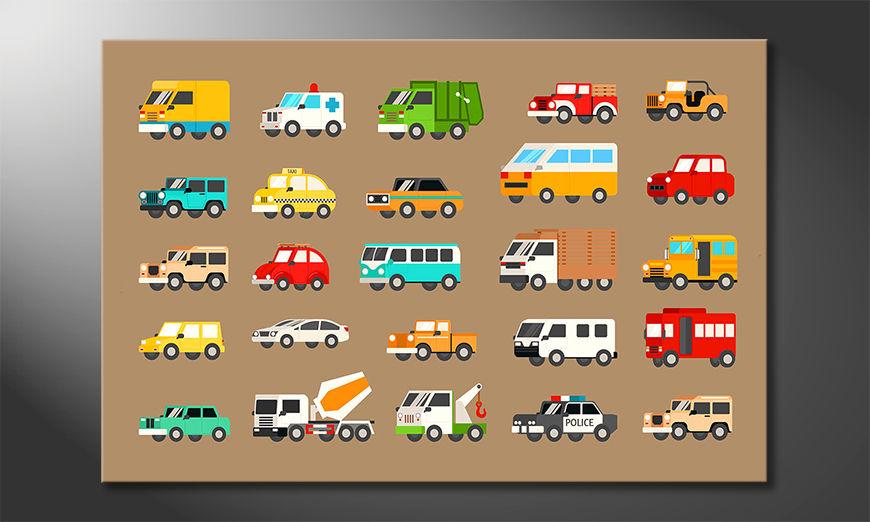 Moderne Wanddekoration  Funny Cars