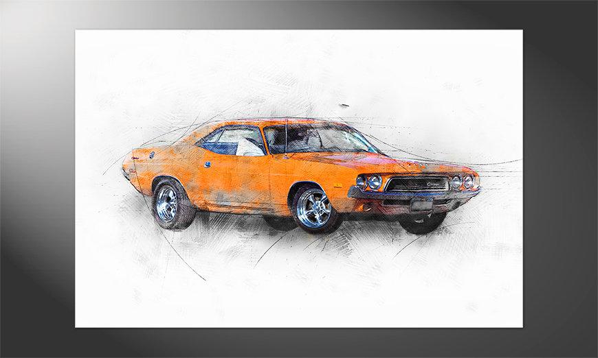 Das hochwertige Poster Orange Muscle Car