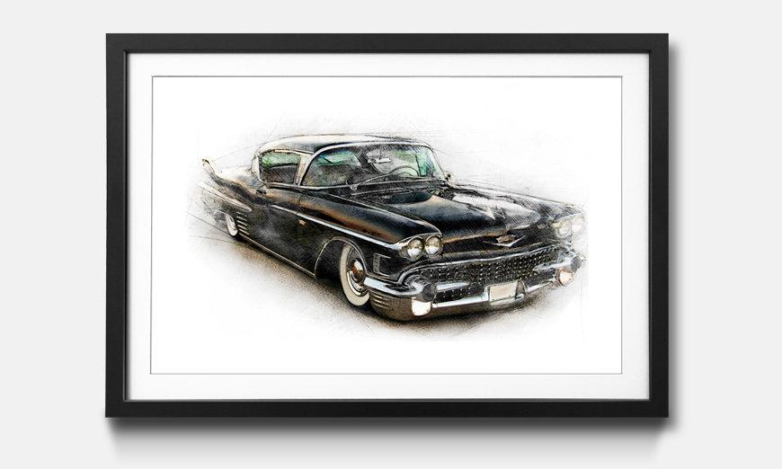 Bild gerahmt Black Cadillac