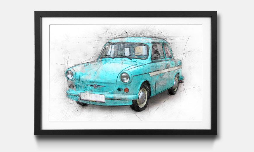 Bild gerahmt Old Trabant