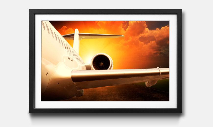 Das gerahmte Bild Jet Engine Airplane