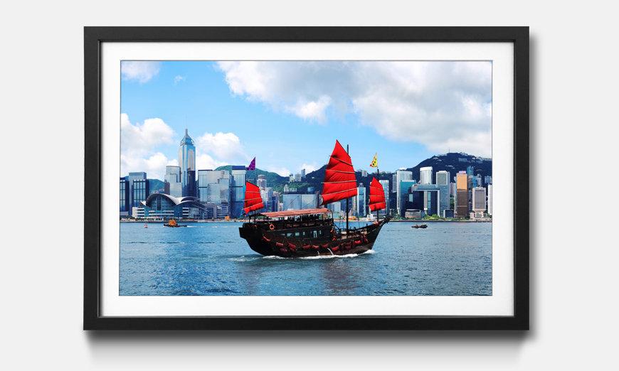 Das gerahmte Bild Kong Kong Skyline Boat