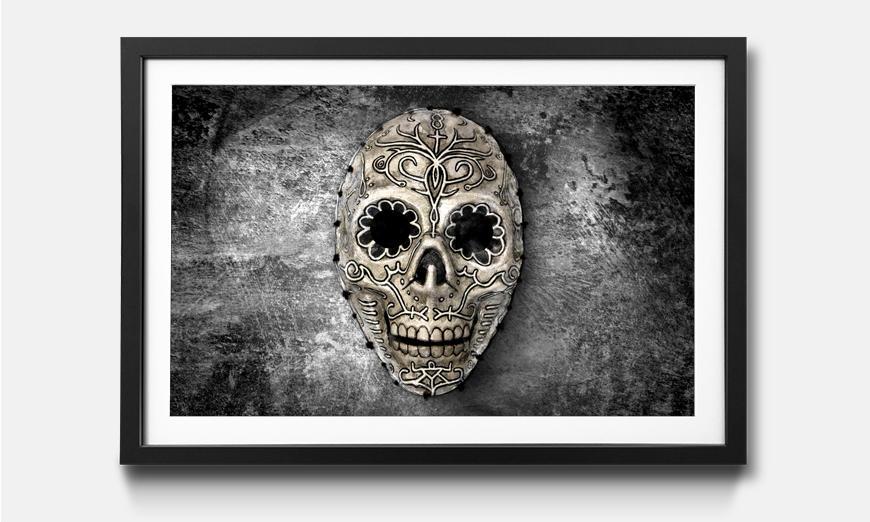 Das gerahmte Bild Monochrome Skull