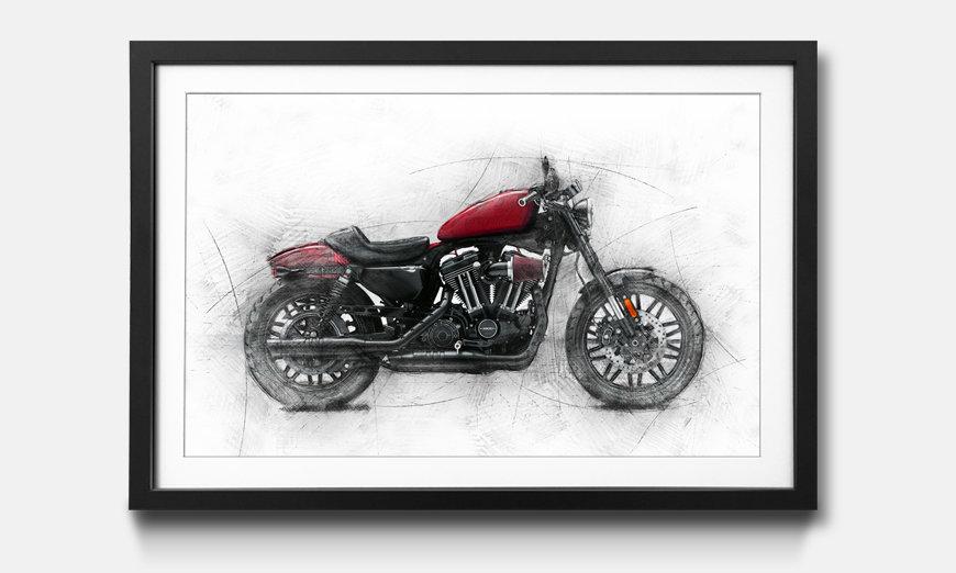 Das gerahmte Bild Motorcycle uno