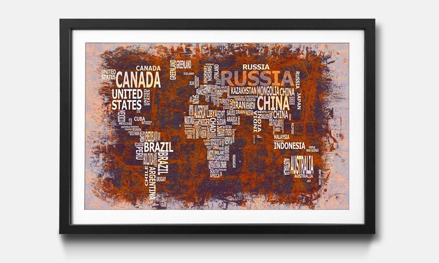 Das gerahmte Bild Worldmap No.19