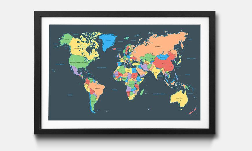 Das gerahmte Wandbild Colorful Map