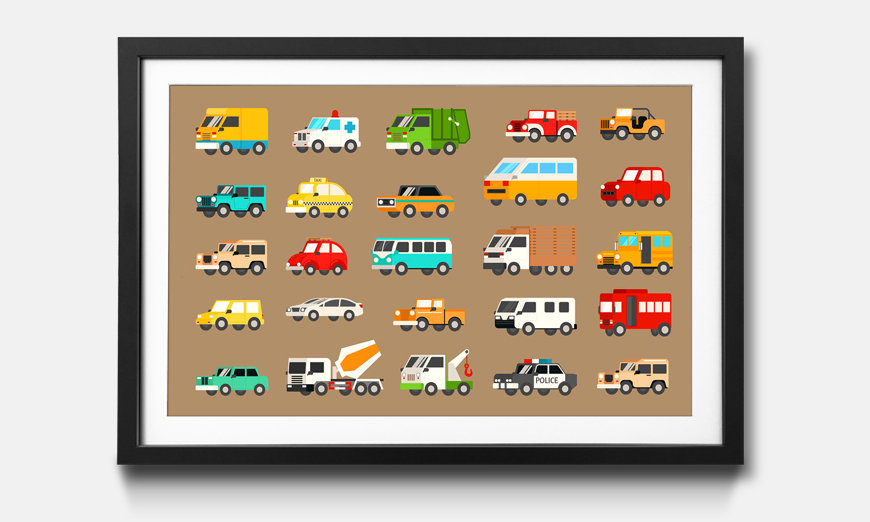 Das gerahmte Wandbild Funny Cars