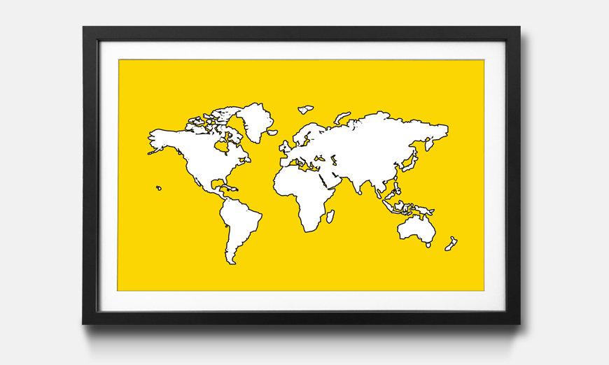Das gerahmte Wandbild Map Of The World Yellow