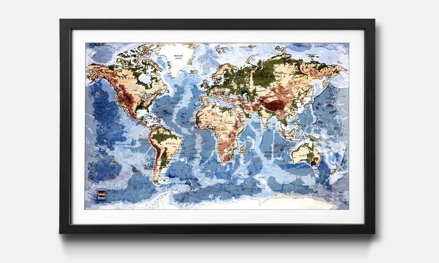 Das gerahmte Wandbild Old Worldmap 5
