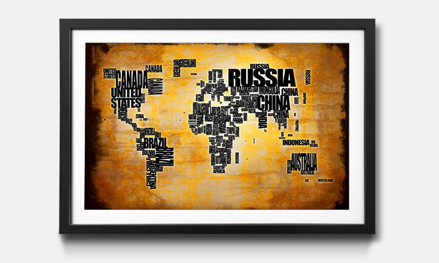 Das gerahmte Wandbild Worldmap No.5