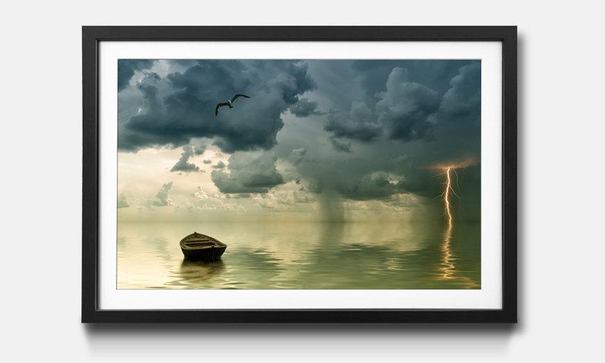 Der gerahmte Druck Lonely Old Boat