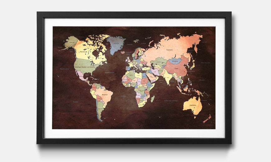 Der gerahmte Druck Old Worldmap 2