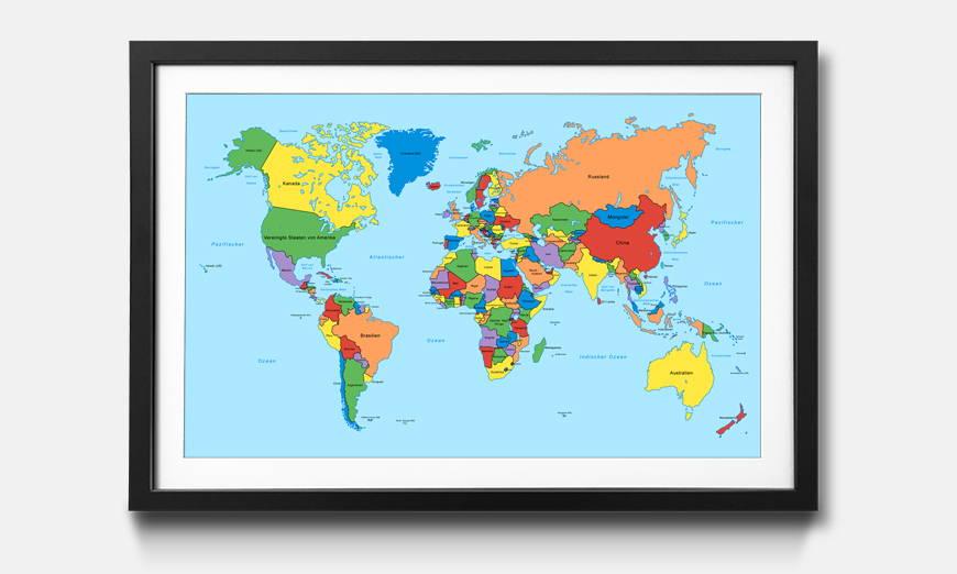 Der gerahmte Druck Worldmap Clean