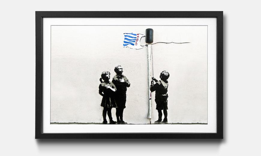 Der gerahmte Kunstdruck Banksy No.18