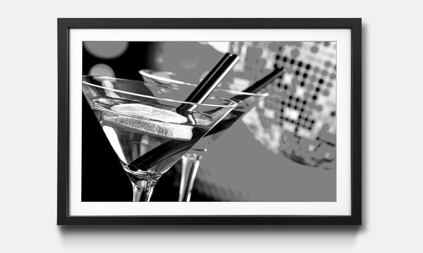 Der gerahmte Kunstdruck Blue And Red Cocktail