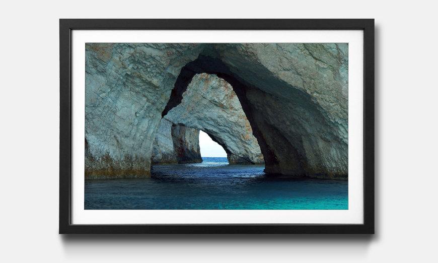 Der gerahmte Kunstdruck Blue Caves