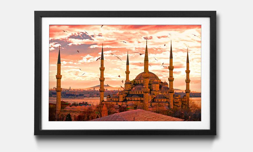 Der gerahmte Kunstdruck Blue Mosque